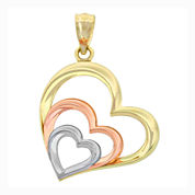 14K Tri-Color Gold Triple Heart Charm Pendant