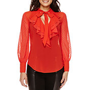 Bisou Bisou® Long-Sleeve Ruffled Tie-Neck Top