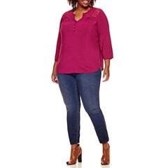 St. John's Bay® 3/4-Sleeve Lace-Yoke Blouse or Pull-On Jeggings