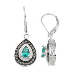 Sterling Silver Lab-Created Emerald & Diamond Earrings