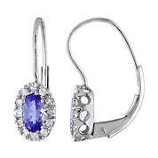 10K White Gold Tanzanite & Diamond Earrings