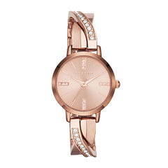 Liz Claiborne Womens Rose-Tone & Crystal-Accent Twisted Bangle Watch