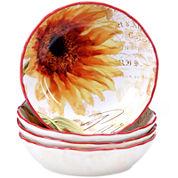 Certified International Paris Sunflower Set of 4 Pasta Bowls