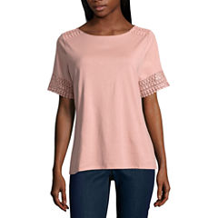 St. John's Bay Short Sleeve Crew Neck T-Shirt-Womens Petites