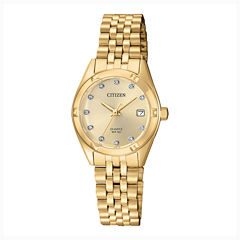 Citizen® Quartz Womens Gold Tone Stainless Steel Swarovski Crystal Accent Bracelet Watch Eu6052-53P