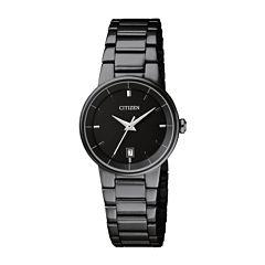 Citizen® Quartz Womens Black Ion Plated Calendar Bracelet Watch Eu6017-54E