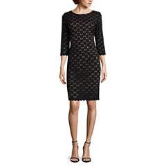 RN Studio by Ronni Nicole 3/4-Sleeve Exposed-Zipper Lace Sheath Dress - Petite