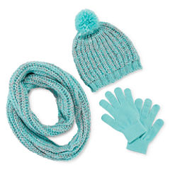 Total Girl® 3-pc. Sequin Beanie, Scarf and Gloves Set - Girls
