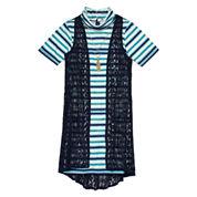 Speechless® Short-Sleeve Shift Dress With Vest - Girls 7-16