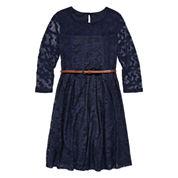 Arizona 3/4-Sleeve Navy Lace Skater Dress - Girls