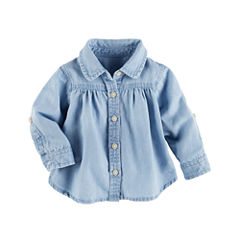 Oshkosh 3/4 Sleeve Button-Front Shirt Girls