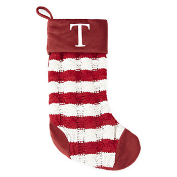 North Pole Trading Co Red Striped Monogram Christmas Stocking