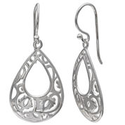 Silver Treasures White Drop Earrings