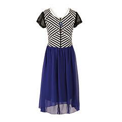 Speechless® Short-Sleeve Stripe Chiffon Hi-Lo Hem Dress - Girls
