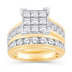 Womens 4 CT. T.W. White Diamond 14K Gold Bridal Set