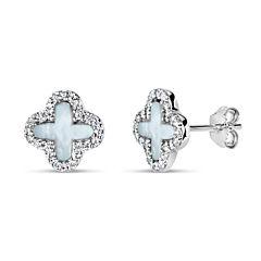 Fancy White Mother Of Pearl Sterling Silver Stud Earrings