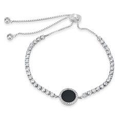 Womens Black Onyx Sterling Silver Bolo Bracelet