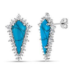 Fancy Blue Turquoise Sterling Silver Stud Earrings