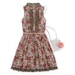 Knit Works Floral Belted Sleeveless Shirt Dress - Girls' 7-16