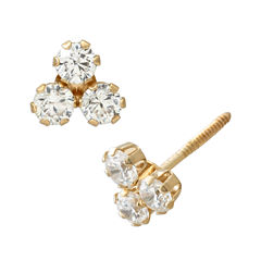 Round White Cubic Zirconia 14K Gold Stud Earrings