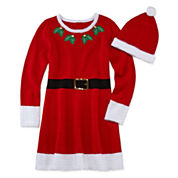 Fashion Avenue Short-Sleeve Red Santa Sweater Dress - Girls 7-16