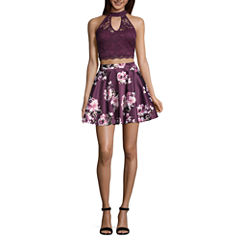 City Triangle Sleeveless 2 PC Burgundy Party Dress-Juniors