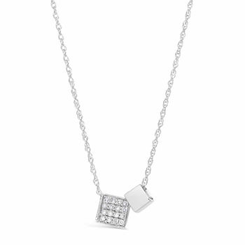 Womens 17 Ct Tw White Diamond Sterling Silver Pendant Necklace