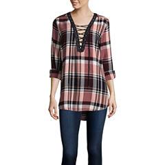Arizona Long-Sleeve Lace Up Plaid Shirt- Juniors