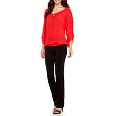 Alyx® Crochet Bell-Sleeve Bubble Top or Straight-Leg Millenium Pants