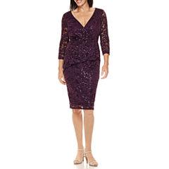 Blu Sage 3/4-Sleeve Lace Peplum Dress