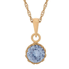 Lab-Created Aquamarine 14K Gold Over Silver Pendant Necklace