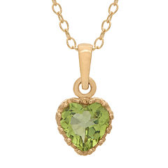 Genuine Peridot 14K Gold Over Silver Pendant