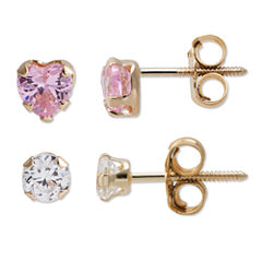 Multi Color Cubic Zirconia 14K Gold Earring Sets
