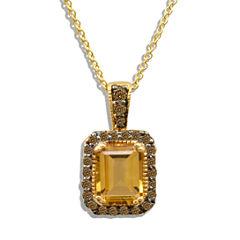 Grand Sample Sale™ by Le Vian® Cinnamon Citrine® & 1/4 CT. T.W Chocolate Diamonds® in 14k Honey Gold™ Chocolatier® Pendant