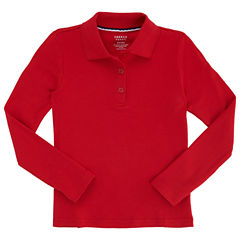 French Toast Long Sleeve Polo Shirt - Big Kid Girls Plus