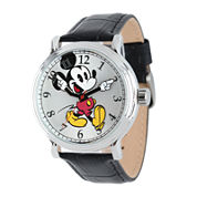 Disney Mickey Mouse Mens Black Leather Strap Vintage-Style Watch