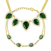 Simulated Emerald and Cubic Zirconia Bracelet and Necklace Set