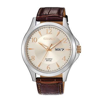 Citizen Quartz Mens Brown Leather Strap Watch bf2009 29x