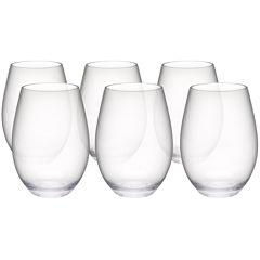 Zak Designs® Trinity Set of 6 Tritan Stemless Red Wine Glasses