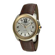 Peugeot® Mens Gold-Tone Brown Leather Strap Watch 2045GBR