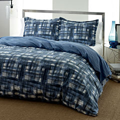 City Scene Ink Wash Abstract Plaid Duvet Cover Set