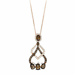 Grand Sample Sale™ by Le Vian® Chocolate Quartz® & Vanilla Topaz™ in 14K Strawberry Gold® Pendant Necklace