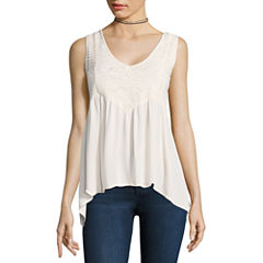 Self Esteem Sleeveless V Neck Woven Blouse-Juniors