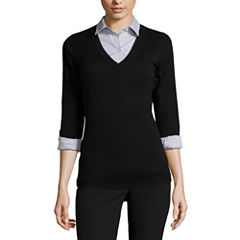 Worthington® Long-Sleeve Essential V-Neck Sweater - Tall