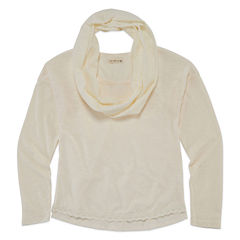 One Step Up® Long-Sleeve Crochet-Trim Tee with Scarf - Girls 7-16