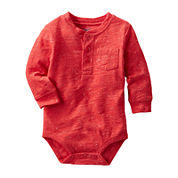 OshKosh B'gosh® Long-Sleeve Red Sunset Henley Bodysuit - Boys 3-24m