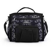 LillyBit Gray Damask Messenger Bag Diaper Bag