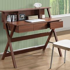 Folio Three Drawer Desk with Low Profile Hutch