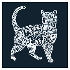 Los Angeles Cat Themed Words Short Sleeve Graphic T-Shirt