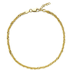 Made in Italy 18K Gold Over Silver Singapore Chain Ankle Bracelet